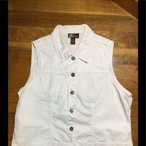 Tops - Woman's white size 16 lightweight denim vest